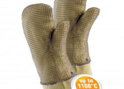 Mitts made of aramid fabric with chain mail cover